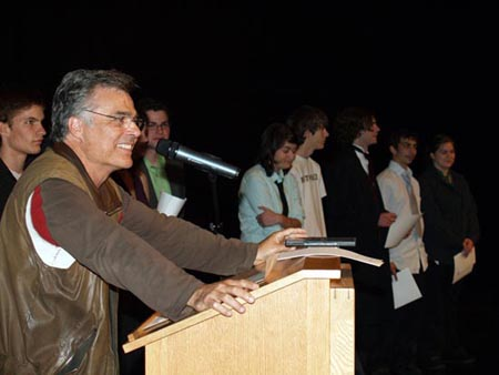 CONGRATULATIONS: Tony Papa talks to graduates from last year's film program at Brooks.