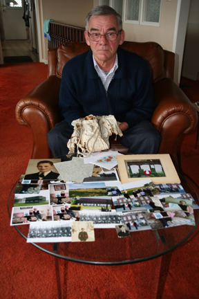 Not Forgotten: Geoff Warren with some of the memories and pieces of his uncle's life