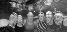 SWIMMING FRIENDS: Senior swimmers (L to R): Nancy Lalonde, Marjorie Henry, Evelyn Seymour, Dora Ganton, Tricia Andrews and Leita Fahlman. Photo by Sean Percy